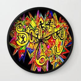 S6 TEE Detail with Black Border POW WOW! Wall Clock