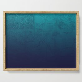 Blue Ombre Map Serving Tray