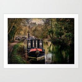 Moored Narrowboats At Newbury Art Print