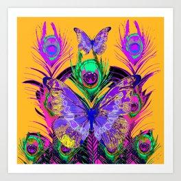 PURPLE BUTTERFLIES PEACOCK FEATHER FANTASY ORANGE ART Art Print