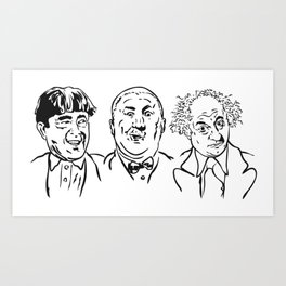 Stooges Moe, Curly and Larry Art Print