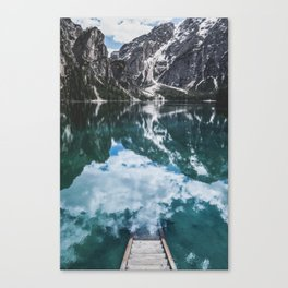 A staircase leading to the water in an mountain lake in the Dolomites Canvas Print