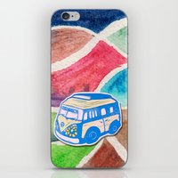 vw bus iPhone & iPod Skins featuring VW Bus Campervan by Carrie at Dendryad Art