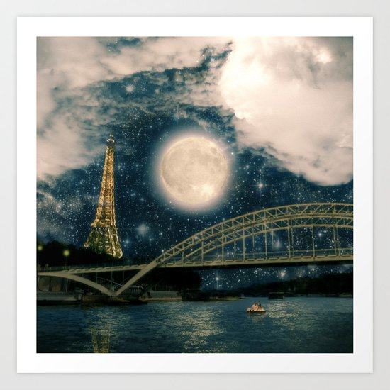 One Starry Night in Paris Art Print