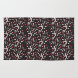 Modern pink red gray watercolor leaves berries pattern Rug