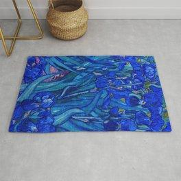 Van Gogh Irises in Indigo Rug