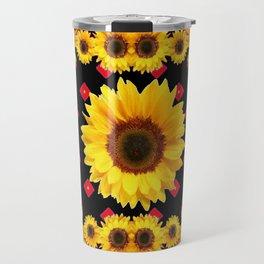 Black Western Blanket Style Sunflowers Travel Mug