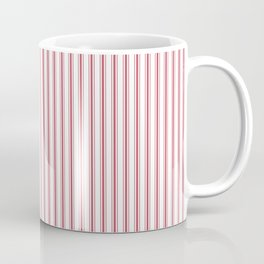 Mattress Ticking Narrow Striped USA Flag Red and White Coffee Mug