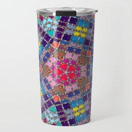 Gemstones and Metal Pentagon Pattern Travel Mug
