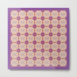 Mediterranean Floral Tiles Metal Print
