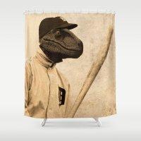 baseball Shower Curtains featuring Baseball Velociraptor by Luigi Tarini