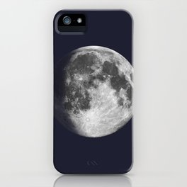 Waxing Gibbous Moon on Navy iPhone Case