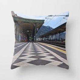 Train Station of Giardini Naxos on the Isle of Sicily - The Godfather Throw Pillow