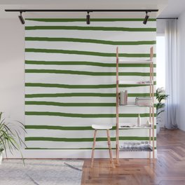 Simply Drawn Stripes in Jungle Green Wall Mural