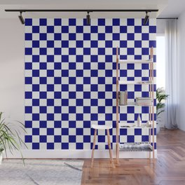 Navy Blue and White Large Check Wall Mural