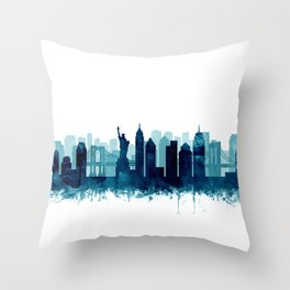 New York Cit Skyline Blue Watercolor by Zouzounio Art Throw Pillow