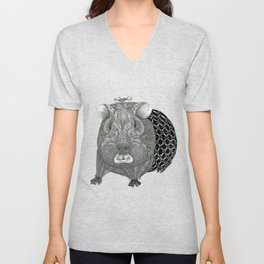 Ms Guinea Pig is dressed up and ready to go party Unisex V-Neck