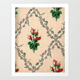 Retro Cream & Rose Pattern Art Print