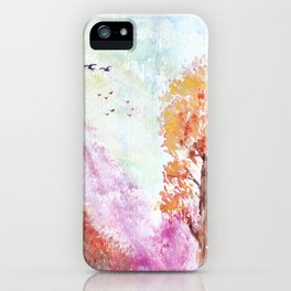 Magical Landscape Watercolor Painting iPhone Case