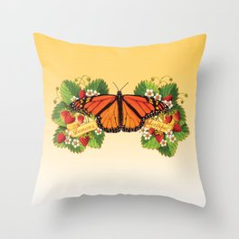 Monarch Butterfly with Strawberries Throw Pillow