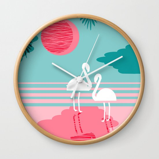 Wall Clock Art chill vibes - memphis retro throwback 1980s 80s neon pop art