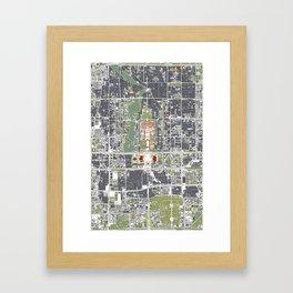 Beijing city map engraving Framed Art Print