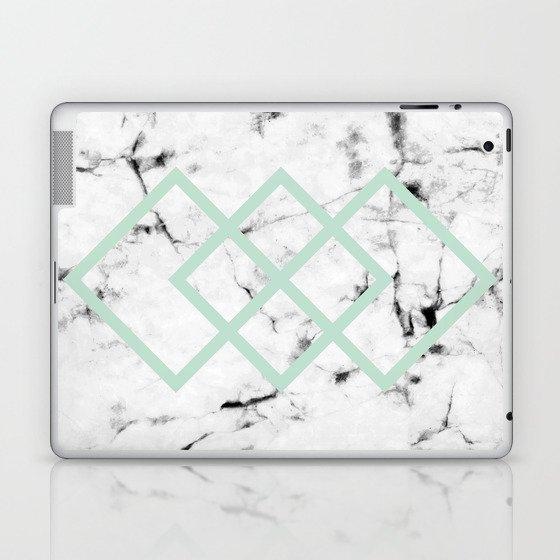 White Marble Concrete Look Mint Green Geometric Squares Laptop & iPad Skin