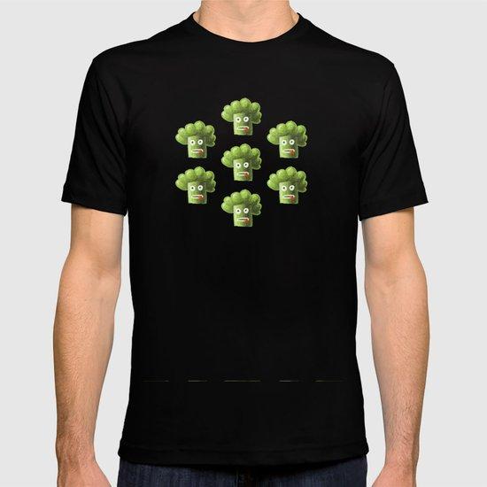 Green Funny Cartoon Broccoli T-shirt