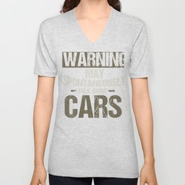 Car Lover Warning May Spontaneously Talk About Cars Mechanic Unisex V-Neck