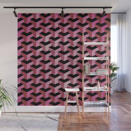 Red Grunge Abstract Geometric Pattern Wall Mural