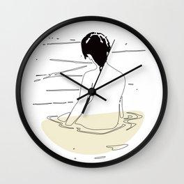 Nude Woman Geisha Japanese Line Art Drawing Erotic Naked Body Water Wall Clock