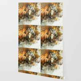 Watercolor Galloping Horses On Raw Canvas | Splatter Painting Wallpaper