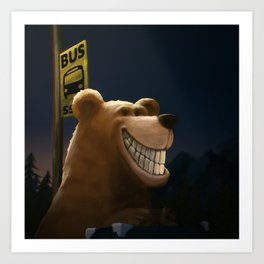 An early start, a travelling bear adventure Art Print