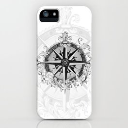 Black and White Scrolling Compass Rose iPhone Case
