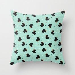 Black Rubber ducks Throw Pillow