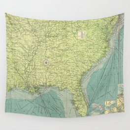 Vintage Map of The Southeastern U.S. Ports (1922) Wall Tapestry
