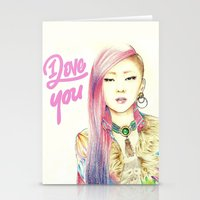 2ne1 Stationery Cards featuring I Love You Everyday by Orionebula