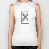 xmen Biker Tanks featuring Zentangle X Monogram Alphabet Illustration by Vermont Greetings