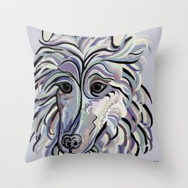 Collie in Denim Colors Throw Pillow
