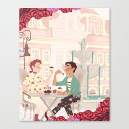 Coffee Date w/ roses Canvas Print