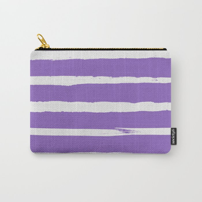 Irregular Hand Painted Stripes Purple Carry-All Pouch