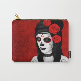Day of the Dead Sugar Skull Girl with Red Roses Carry-All Pouch