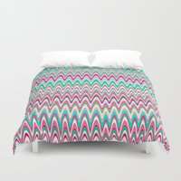 preppy Duvet Covers featuring Making Waves Pink and Preppy by Shawn King