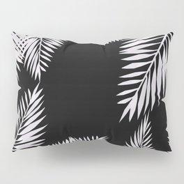 Watercolor tropical palm leaves black Pillow Sham
