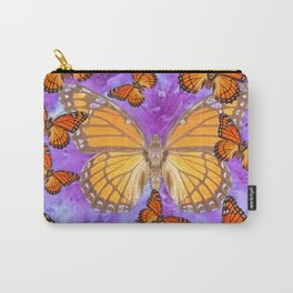 Orange Mariposas (Monarch Butterflies) on Lilac Color clouds Carry-All Pouch