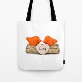 Orange love birds Tote Bag