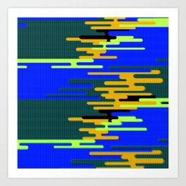 Blue Green Yellow 8Bit Clouds Art Print