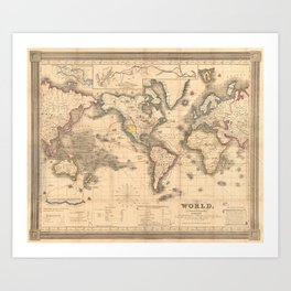Vintage Map of the World (1850) Art Print