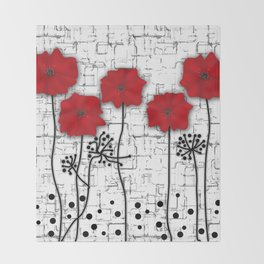 Poppies red n white background . Throw Blanket