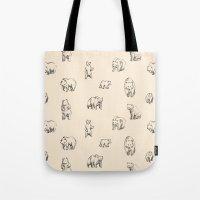 bears Tote Bags featuring Bears by leah reena goren